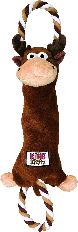 KONG - Tugger Knots Moose - Juguete para estirar, con poco relleno y aros - Raza mediana/grande