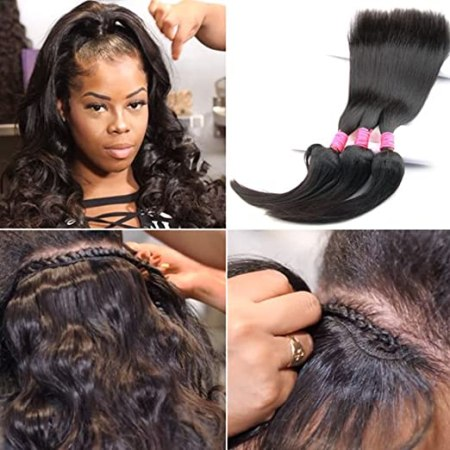 Braid In Bundles No Sew No Crochet No Glue Best Straight/ Body Wave Human Hair Weave (12 12 12 inch, Body Wave)