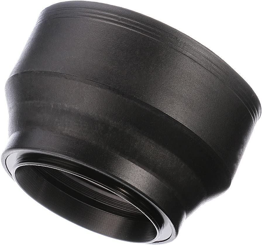 Fotga 58mm 3-Section 3-in-1 Rubber Lens Hood for DSLR Cameras Lenses Cap Filters