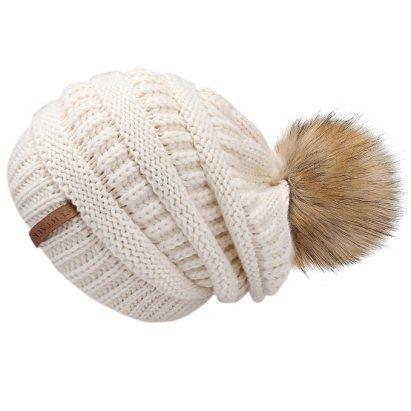 50f91b50934050 FURTALK Womens Winter Slouchy Knit Beanie Chunky Faux Fur Pom Poms Hat  Bobble Hat Ski Cap