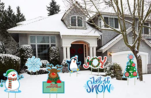 Aiyang 7 Large Sized Christmas Outdoor Yard Signs Winter Wonderland Yard Signs New Year Outdoor Lawn Garden Decor Stake Lawn Patio Yard Decorations Amazon Co Uk Garden Outdoors