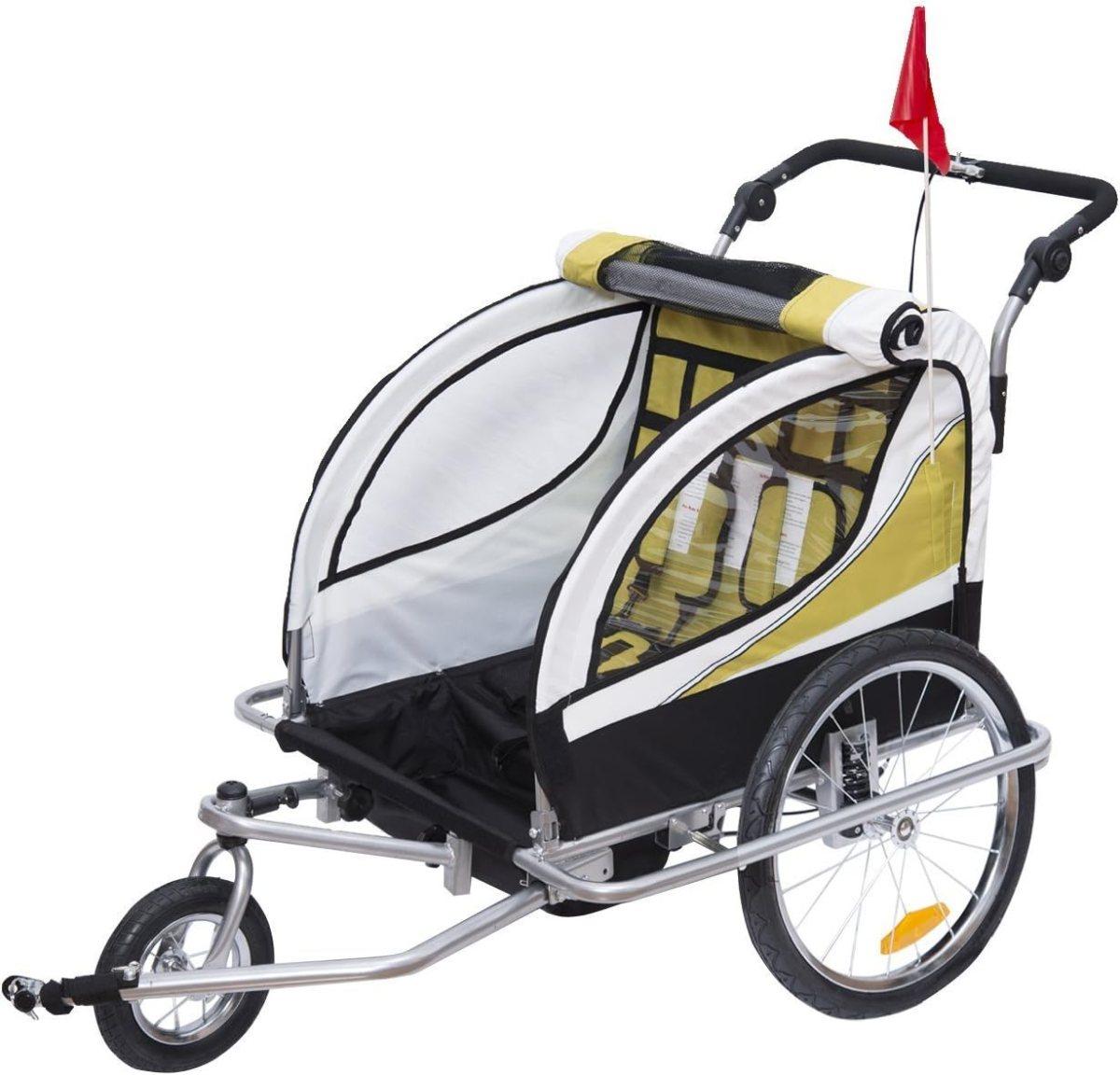 HOMCOM Remolque para Bicicleta tipo Carro con Barra de Paseo para Niños de 2 Plazas con Rueda Delantera Giratoria 360° y Asiento Acolchado Carga Máx. 40kg