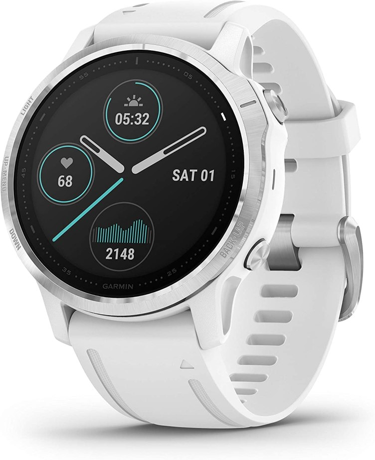 Garmin Fenix 6S, Premium Multisport GPS Watch, Smaller-Sized, Heat and Altitude Adjusted V02 Max, Pulse Ox Sensors and Training Load Focus, 42mm, White