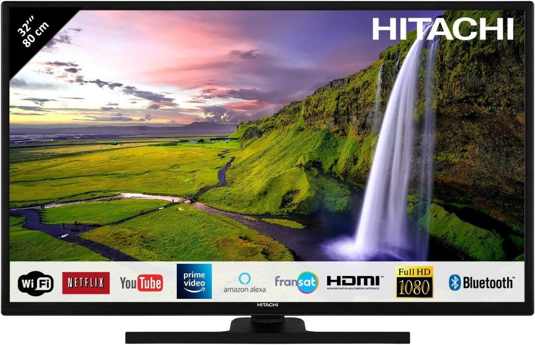 "Hitachi Téléviseur LED 32"" 80,01cm Full HD avec Alexa/Smart TV: Netflix, Youtube, Prime/WiFi/Bluetooth / 3 HDMI/PC/USB"