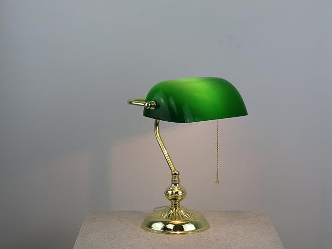 Dina Lampada Da Tavolo Ministeriale Oro Vetro Verde Stile Western Diamantlux
