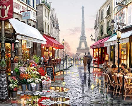 Suntown Paint By Numbers For Adults And Kids 40 X 50cm Canvas Painting With Brushes And Acrylic Paints Our Memories In Paris Just Canvas Amazon Co Uk Kitchen Home