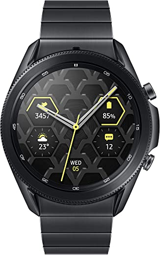 Samsung Electronics Galaxy Watch 3 Titanium (45mm, GPS, Bluetooth) Smart Watch with Advanced Health Monitoring, Fitness Tracking, and Long Lasting Battery, Mystic Black (US Version)