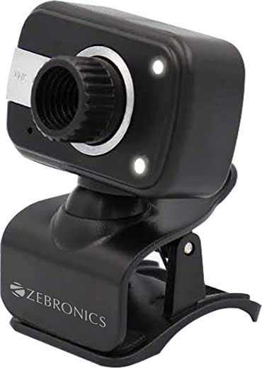 Zebronics Zeb-Crystal Clear Web Camera with 3P Lens,Built-in Microphone,Auto White Balance,Night Vision and Manual Switch for LED (Black)