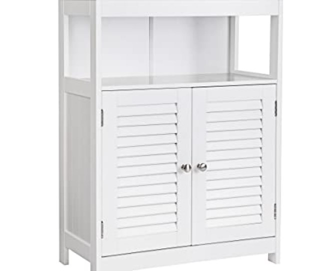 Amazon Com Vasagle Bathroom Storage Floor Cabinet Free Standing With Double Shutter Door And Adjustable Shelf White Ubbc40wt Kitchen Dining