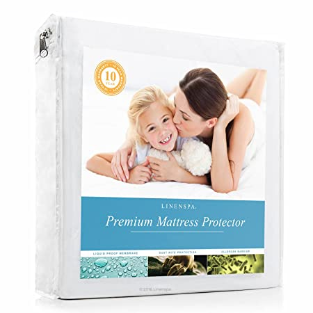 LINENSPA Premium Smooth Fabric Mattress Protector - 100% Waterproof - Hypoallergenic - 10 Year Warranty - Vinyl Free - Queen