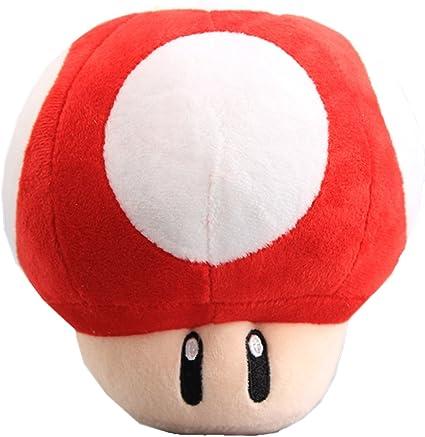 Amazon Com Uiuoutoy Super Mario Bros Red Super Mushroom Stuffed Plush 6 Toys Games