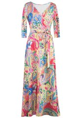 MIHOLL Women's Maxi Floral Dress V Neck Crossover Tie Waist Long Dress (Small, Yellow Pink)