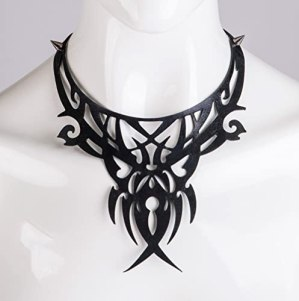 Leather bib necklace Cut out