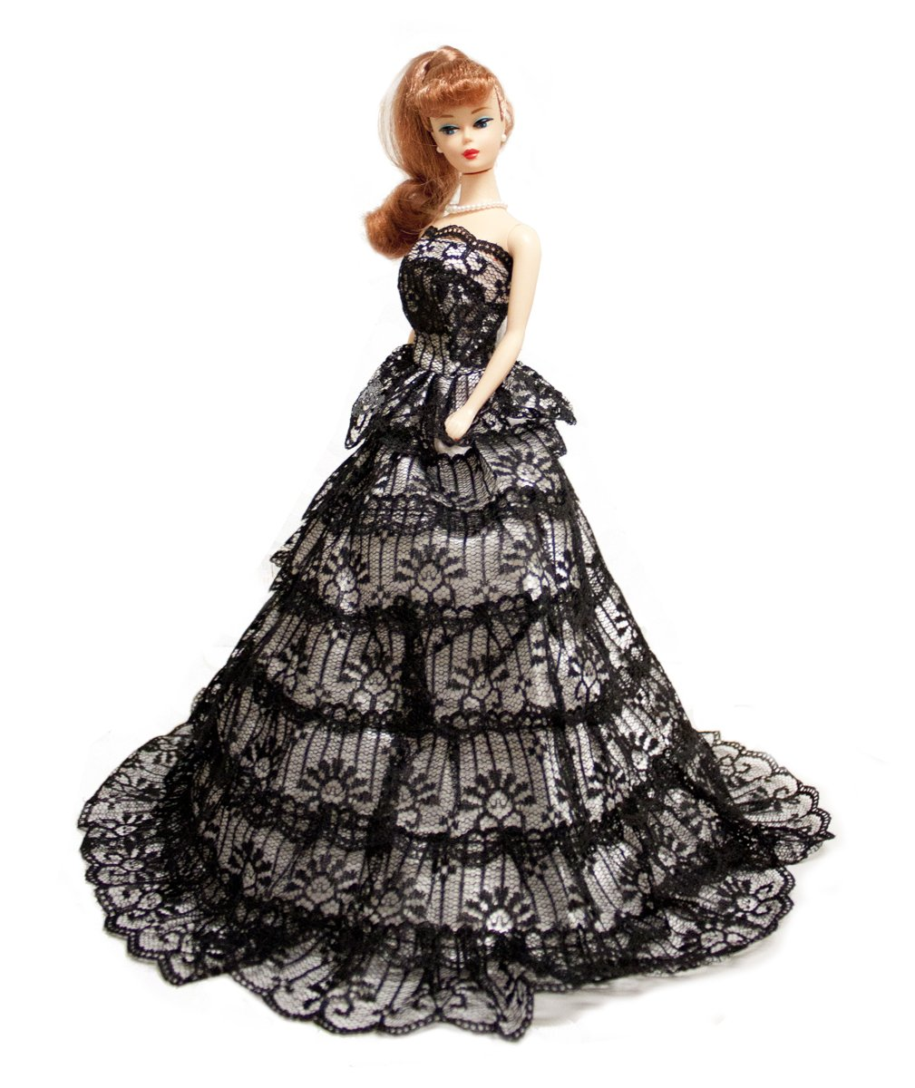 Barbie Black & White Gown with Ruffles Ball Gown, Barbie Wedding Gown