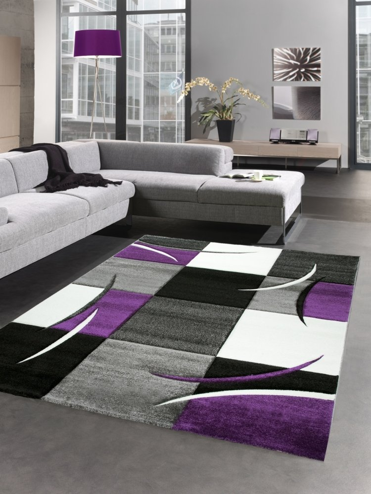 Carpetia Designer Rug Living Room Carpet Karo Purple Grey Cream Black Size 160x230 Cm Buy Online In Moldova Carpetia Products In Moldova See Prices Reviews And Free Delivery Over 1 200 L Desertcart