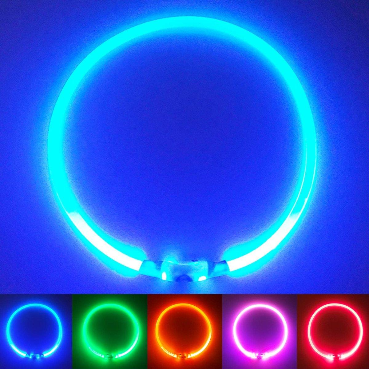 PetSol LED Collar Perro Collar de Seguridad LED Recargable Ultra Luminoso para su Mascota batería de Litio Recargable Mayor Visibilidad y Seguridad Talla única para Todos los Perros y Gatos (Azul)