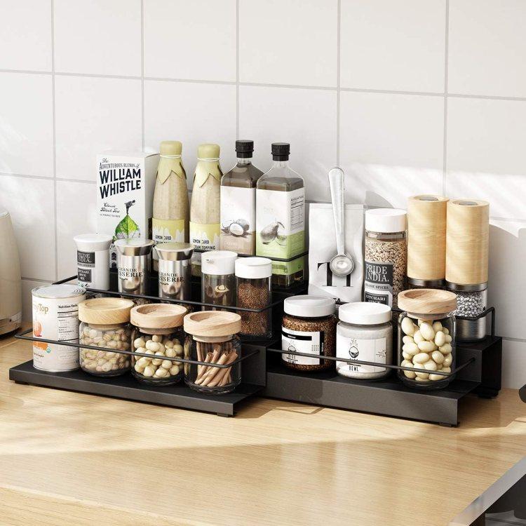 Amazon Com Spice Rack Adjustable Kitchen Storage Shelf Countertop Pantry Stand 3 2 Tier Large Black Home Improvement