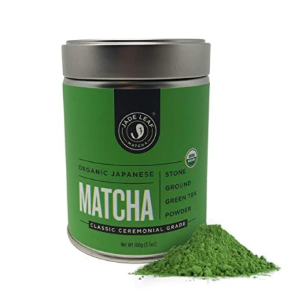 Jade Leaf Matcha Green Tea Powder - USDA Organic - Ceremonial Grade (For Sipping as Tea) - Authentic Japanese Origin - Antioxidants, Energy [100g Value Size]