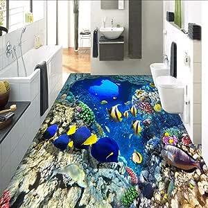 Custom 3D Mediterranean Shoal Of Fish Floor Wallpaper a