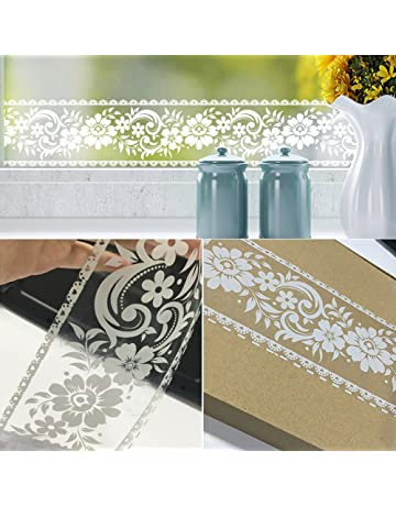 Simplelifeu White Lace Transparent Removable Wallpaper Border Shop Display Window Sticker Bathroom Mirror Decor Rustic Floral