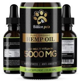 Billion Pets – Hemp Oil Dogs Cats – 5000mg – Separation Anxiety, Joint Pain, Stress Relief, Arthritis, Seizures, Chronic Pains, Anti-Inflammatory – Omega 3, 6, 9-100% Organic – Calming Drops
