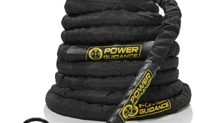 POWER GUIDANCE Battle Rope – 1.5″ Width Poly Dacron 30/40/50ft Length Exercise Undulation Ropes – Gym Muscle Toning Metabolic Workout Fitness – Battle Rope Anchor Included