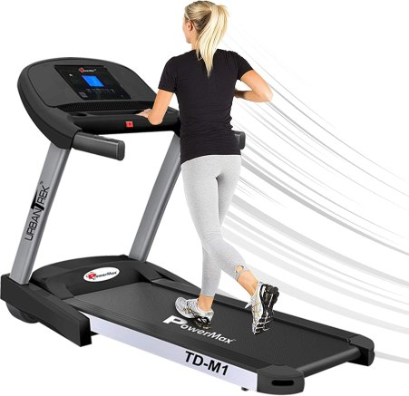 Buy PowerMax Fitness TD-M1 2HP (4HP Peak) Pre-installed Motorized Steel  Treadmill, Home Use & Semi Automatic Lubrication (Black) Online at Low  Prices in India - Amazon.in