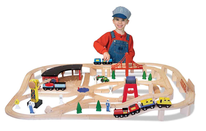 Melissa Doug Deluxe Wooden Railway Set (130+ pcs)
