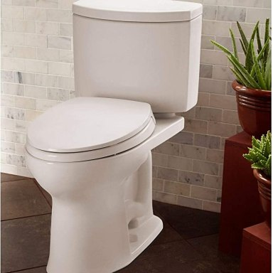 TOTO CST454CEFG#01 Drake II 2-Piece Toilet with Elongated Bowl and Sanagloss,1.28 GPF, Cotton White