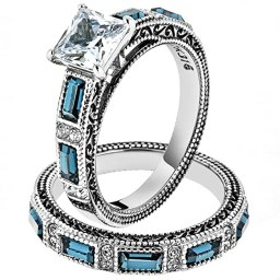 Women's Stainless Steel 316 Cubic Zirconia Antique Design Wedding Ring Set Size 9