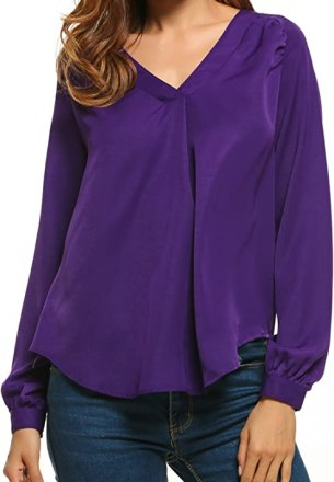 Zeagoo Women V Neck Long Sleeve Ruched Front T Shirt Blouse Top