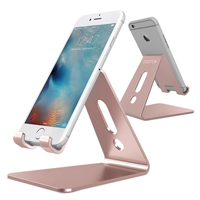 [Updated Solid Version] OMOTON Desktop Cell Phone Stand Tablet Stand, Advanced 4mm Thickness Aluminum Stand Holder for Mobile Phone and Tablet (Up to 10.1 inch), Rose Gold