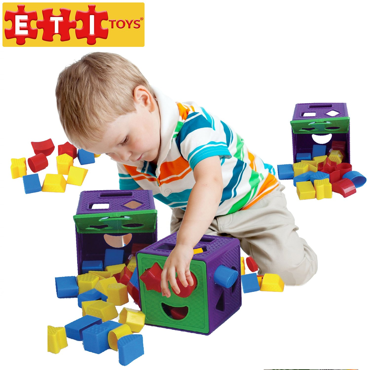 ETI Toys - 19 Piece Shape Sorter Cube with Multiple Color Shapes for Sorting