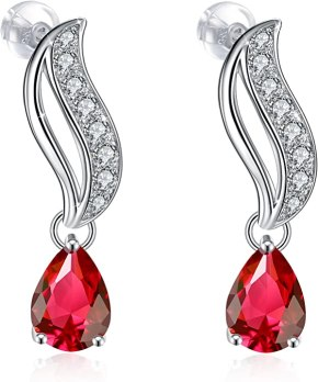 J.Rosée Drop Earrings for Women, Graduation Gifts 925 Sterling Silver Cubic Zirconia Earrings Fine Jewelry Red Roses Gift Packed