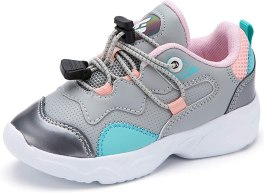 JOINFREE Children Walking Shoes Fashion Sneakers for Boys and Girls Lightweight Breathable Sports Running Shoes Grey