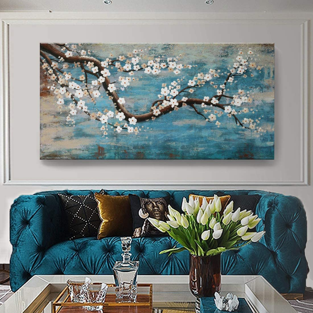 Amazon Com Huge Wall Art For Living Room 100 Hand Painted Flower Oil Painting On Canvas Gallery Wrapped Floral Plum Blossom Artwork For Bedroom Office Decor One Panel 60x30inch Large Paintings