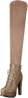 Luichiny Women's Snap Shot Winter Boot, Taupe, 10 M US