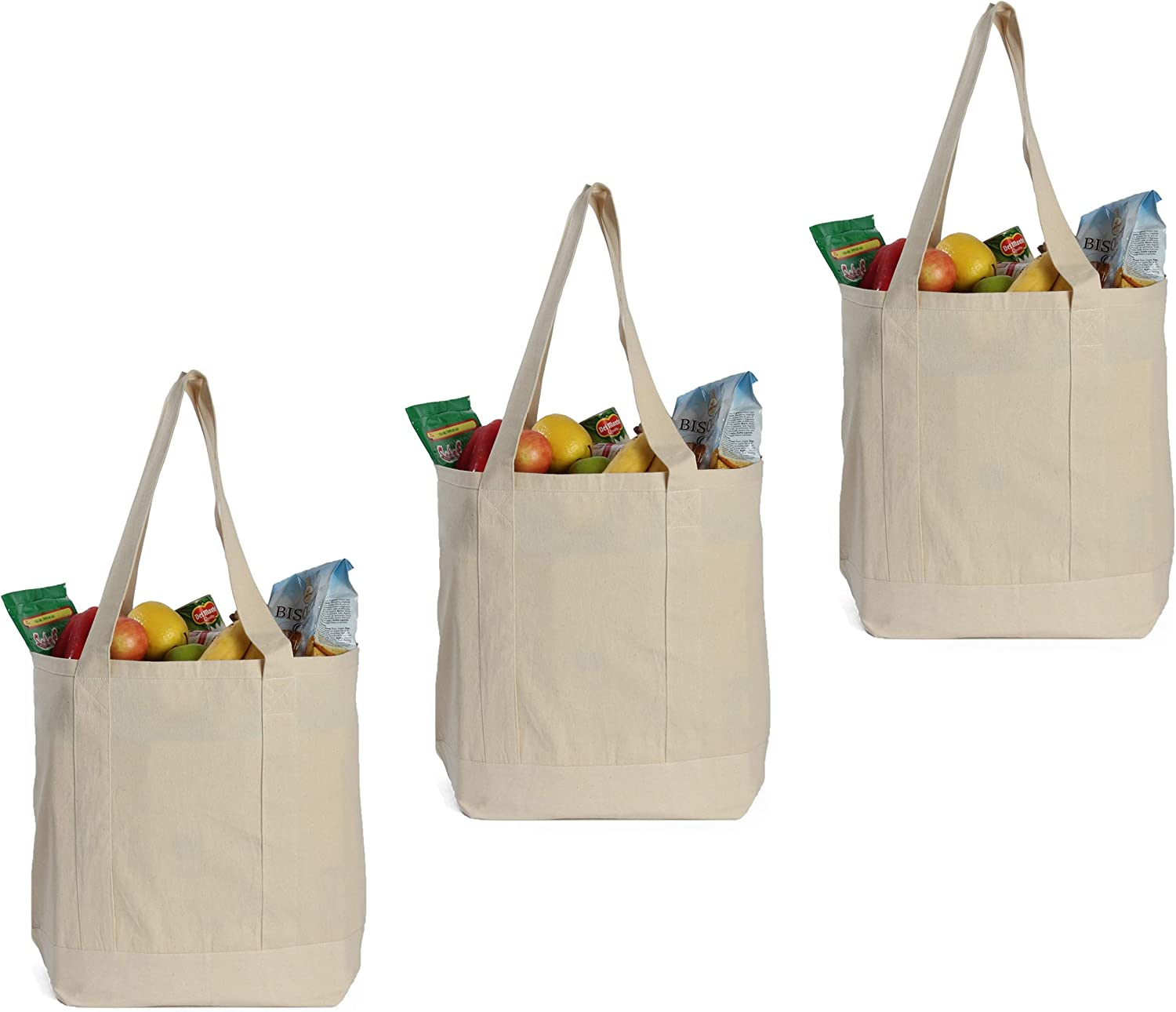 Amazon Com Earthwise Reusable Grocery Bags X Large 100 Cotton Canvas Shopping Craft Beach Cloth Tote With Handles Biodegradable Foldable And Eco Friendly Washable 20 X 16 3 Pack Kitchen Dining