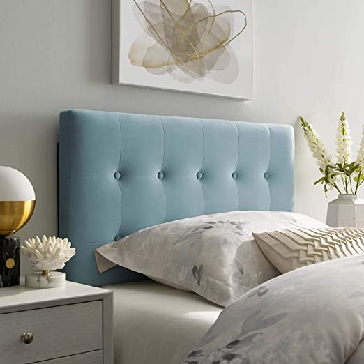 Amazon Com Modway Emily Twin Biscuit Tufted Performance Velvet Headboard Light Blue