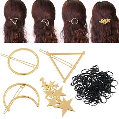 PIXNOR Hair Clip Accessories -4 Pieces Gold Hollow Geometric Alloy Hairpin Hair Clamps, Circle, Triangle,Moon and Star Shapes for Girls Thick Hair Styling