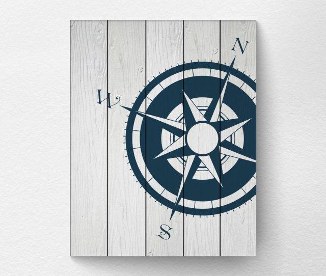 Amazon Com Nautical Compass Wall Art Print Poster Decor Navy