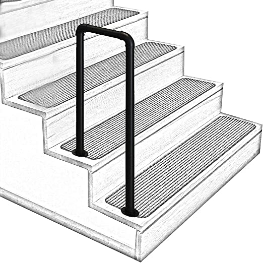 Amazon Com U Shaped Matt Black Non Slip Wrought Iron Stair | 2 Step Outdoor Stairs | Outdoor | Wooden | Free Standing | Cascading | Multi Colored