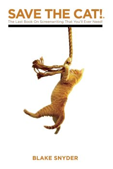 Save the cat cover art. A cat swings using rope.