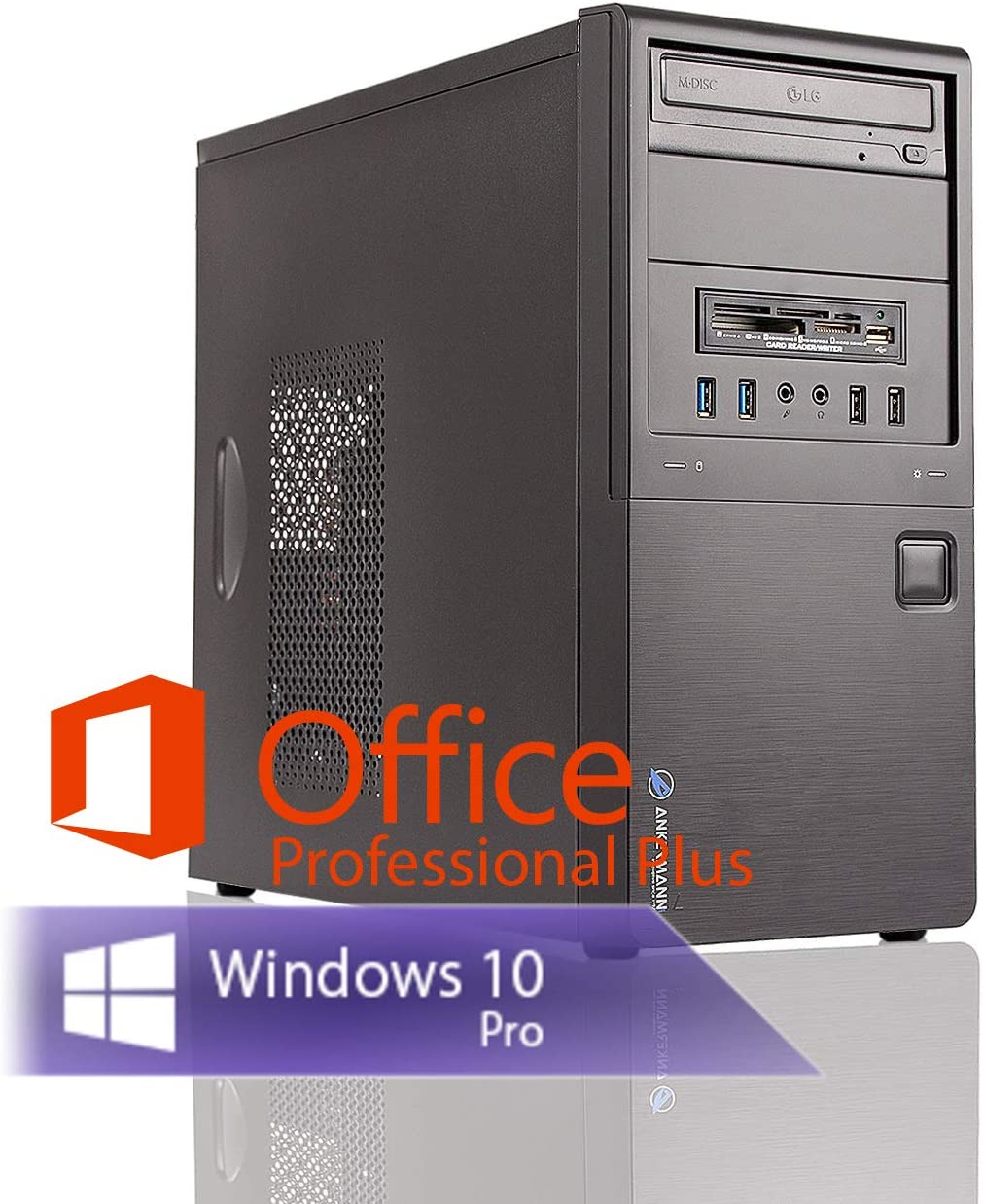 Ankermann Neu Business Office Work PC PC Intel i5 4570 4x3.20GHz NVIDIA GeForce GT 16GB RAM 240GB SSD 1TB HDD Windows 10 Pro W-LAN Office Professional