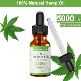Hemp Oil with 5000mg of Organic Hemp Extract for Pain, Anxiety & Stress Relief – 100% Natural Hemp Oil Drops, Helps with Sleep, Skin & Hair