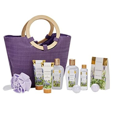 Spa Luxetique Lavender Spa Gift Baskets for Women, Premium 9pc Gift Baskets, Best Holiday Gift Set for Women - Deluxe Spa Tote Bag with Wooden Handle, Bath Salt, Hand Soap/Cream, Shower Gel and Moe!