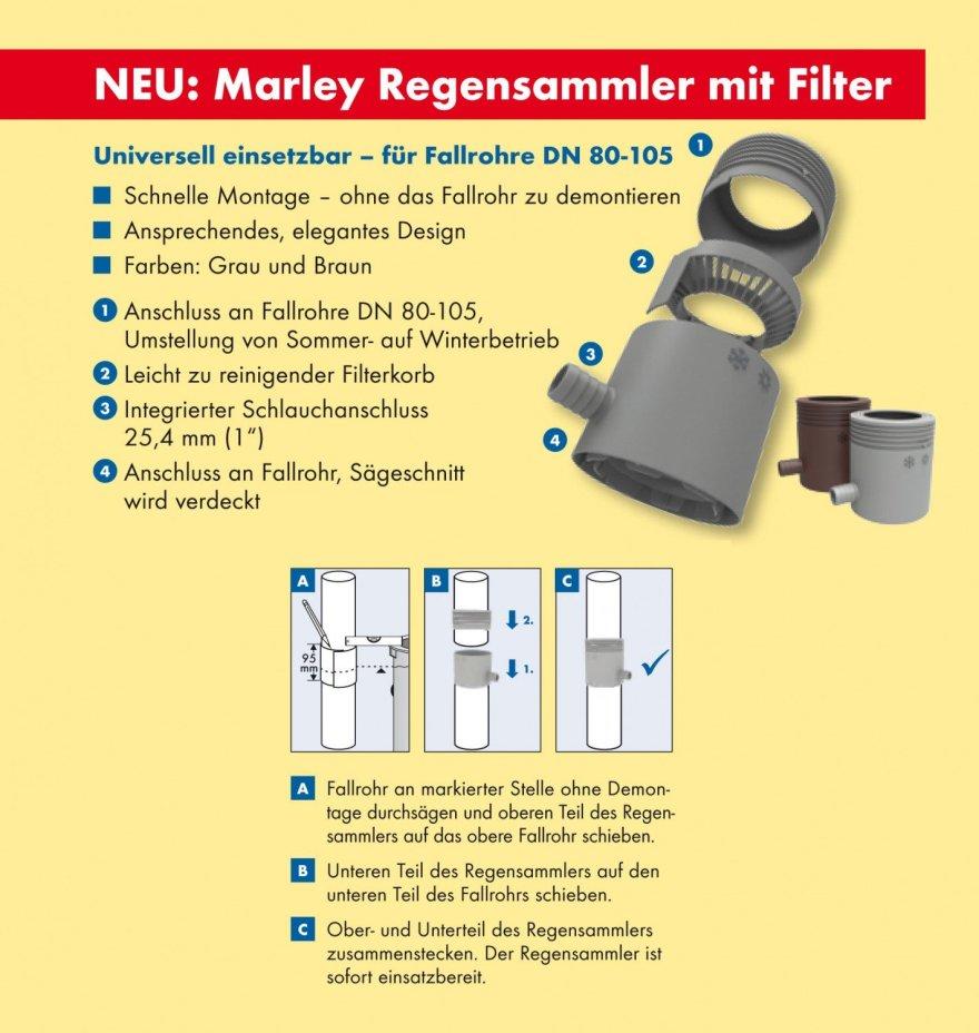 Marley Regensammler mit Filter und Überlaufstop, DN 53-75 mm, grau von Marley Deutschland