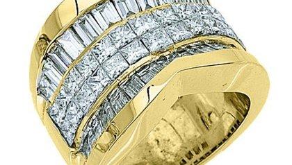 18k Yellow Gold 5 50 Carats Princess & Baguette Diamond Ring