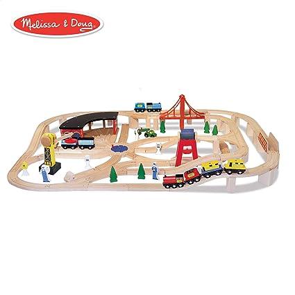 Melissa Doug Wooden Railway Set Vehicles Construction 130 Pieces