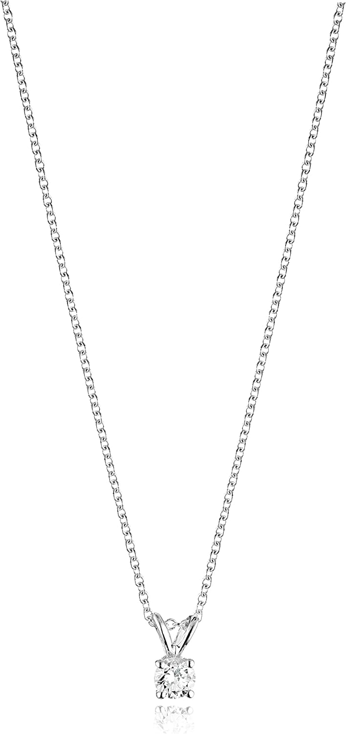 14k Gold Round-Cut Diamond Pendant Necklace (J-K Color, I2-I3 Clarity)